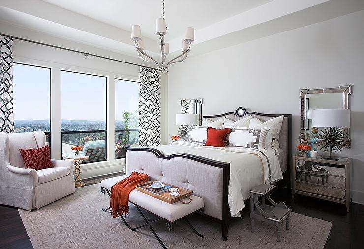 Greek Key Mirror Over Nightstand Transitional Bedroom