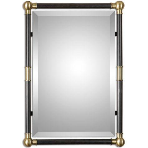 black frame brass accents rectangle mirror - Mirror With Black Frame