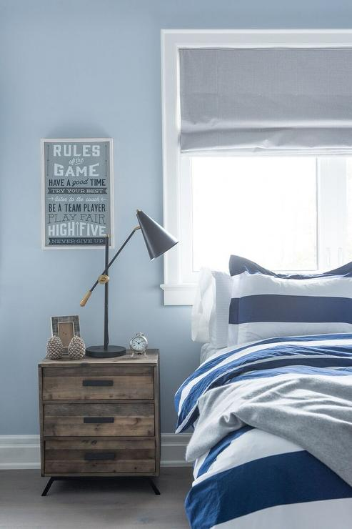 Blue and Gray Boy Bedroom with Bed Under Window view full size. Blue Boys Bedroom with Curved Gray Headboard   Transitional