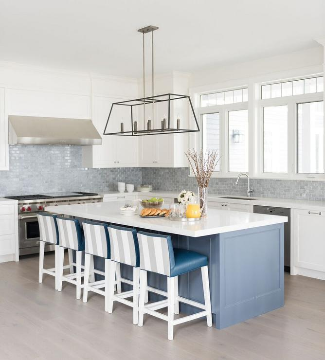 Gray and blue kitchen with gray mini brick backsplash for Grey blue white kitchen