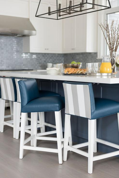 Blue Kitchen Island with White Quartz Counters