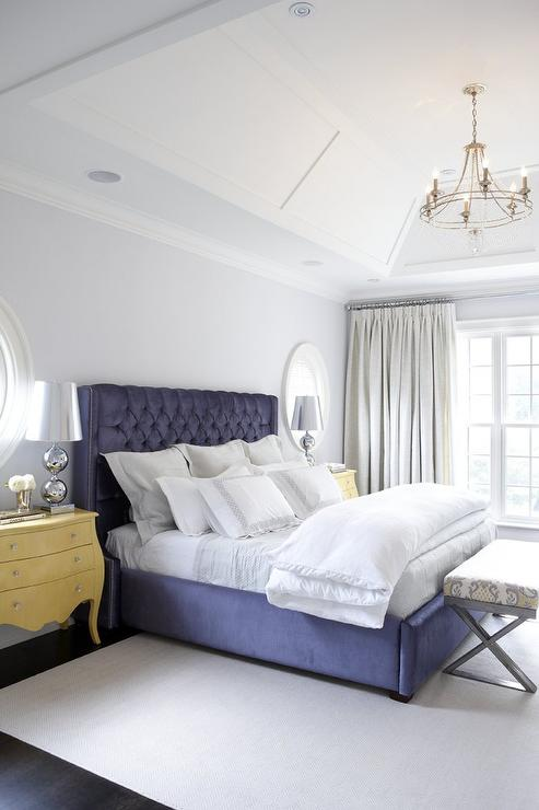 Yellow and Blue Bedroom with Yellow Bombay Chests as Nightstands