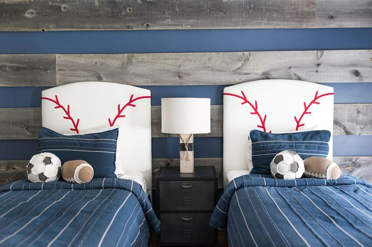 blue and gray boys bedroom with baseball headboards transitional
