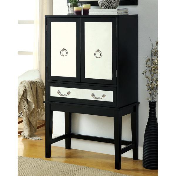 Black Frame Mirrored Wine Cabinet