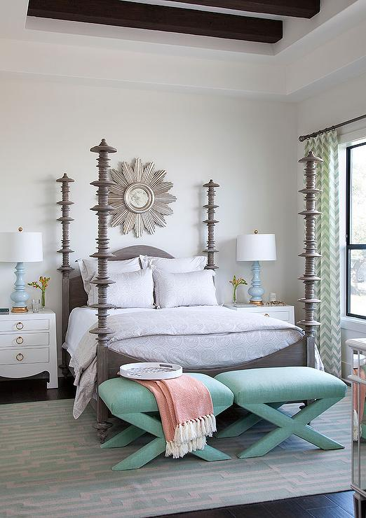 Gray 4 Poster Bed With Mint Green X Stools Transitional