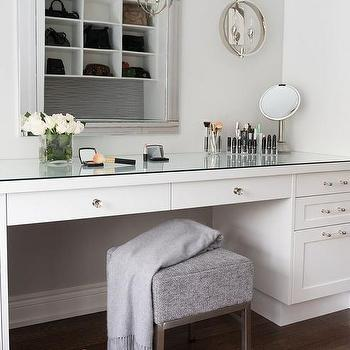 Mirrored Makeup Vanity With Lucite Stool And Crystal Cube