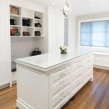 Glass Top Closet Island With 12 Drawers