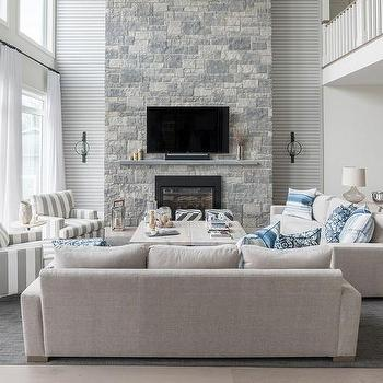 Two story living room design ideas - Gray living room walls ...