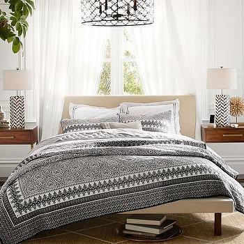 Sona Grey Upholstered Platform Bed