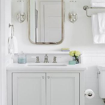 Bleached oak vanity with bone inlay mirror transitional for Gray and turquoise bathroom