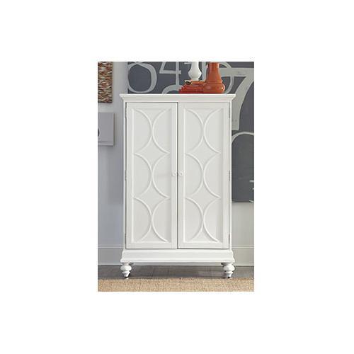 Wonderful White Circles Design Two Door Bar Cabinet