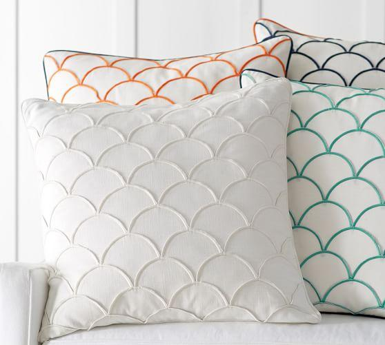 Various colors scallop embroidered pillow cover