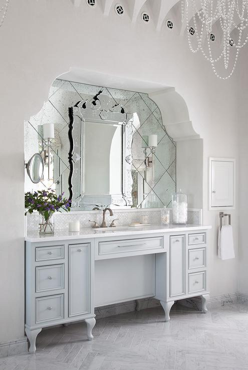 Arched Bathroom Alcove With French Washstand And Venetian