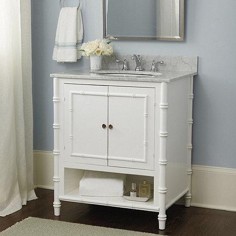 White Carrera Marble Bamboo Style Bath Vanity