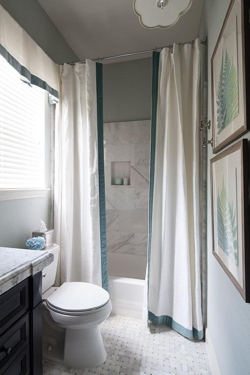 Drop In Shower With Two Shower Curtains Accented With Ribbon Trim
