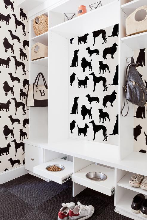 pull out art black and white mudroom with best in show wallpaper and pull out