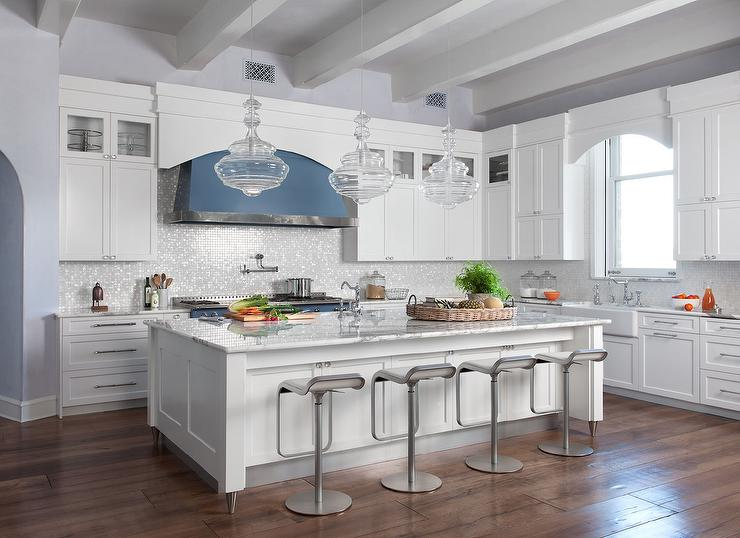 White Kitchen With Silver Iridescent Glass Backsplash