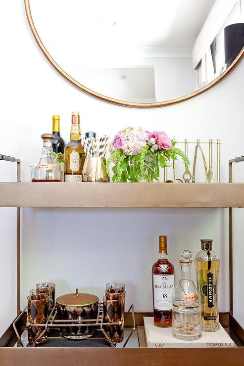 Libations Bar Cart With Gold Hoop Mirror
