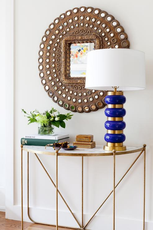 Absolutely Gorgeous Foyer Features A Demilune Brasarble Console Table Topped With Blue And Gold Lamp Emporium Home Monaco Placed Under