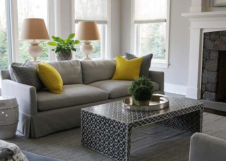 Gray Sofa with Bright Yellow Pillows and Black Waterfall  : dove gray sofa canary yellow pillows from www.decorpad.com size 740 x 528 jpeg 77kB