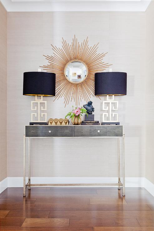 gold and gray foyer with faux anthracite shagreen console table