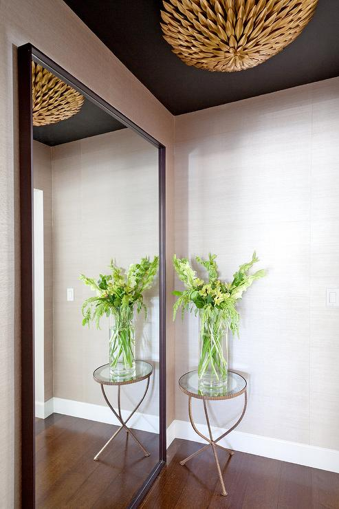 Foyer Full Length Mirror : Foyer with black ceiling and gold pendant contemporary
