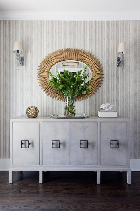 Gold Oval Mirror Over Gray Credenza Cabinet Contemporary