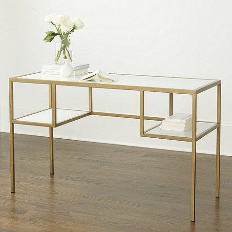White Glass Antique Gold Frame Desk