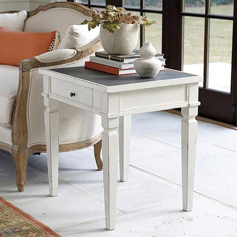 White And Gray Porcelain Top Side Table