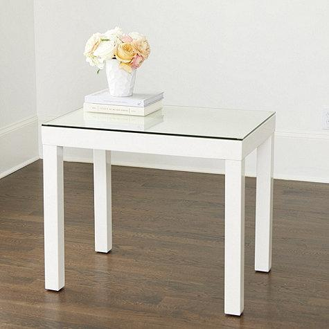 Excellent White Glass Top Parsons Side Table Download Free Architecture Designs Lukepmadebymaigaardcom