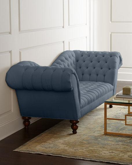 Blue tufted sofa zara fabric tufted sofa with chrome legs for Blue grey couch