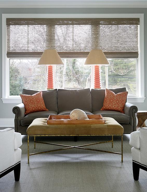 orange and gray living room with bench as coffee table view full size - Grey And Brown Living Room