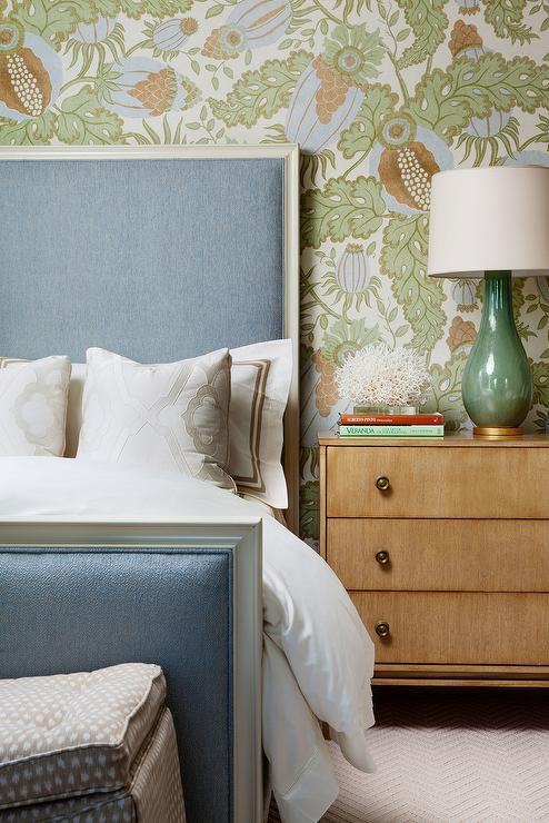 blue and green bedroom with tall headboard transitional