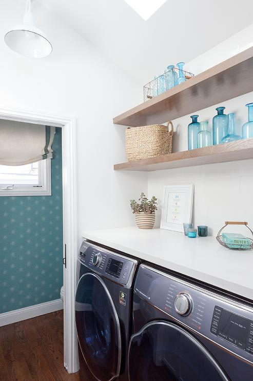 Stacked Floating Shelves Above Front Load Washer And Dryer