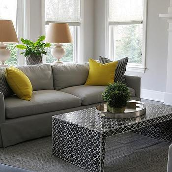 Yellow Sofa Black Pillows Design Ideas