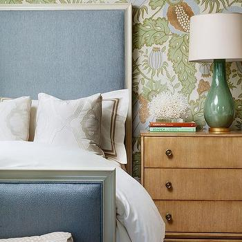 blue and green bedroom with tall headboard