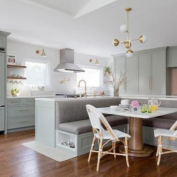 Gold and gray kitchen concept with glass and brass globe for Kitchen island booth