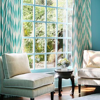 Blue Sitting Room With Turquoise Blue Chevron Curtains