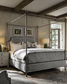 Gray Nailhead Canopy Bed
