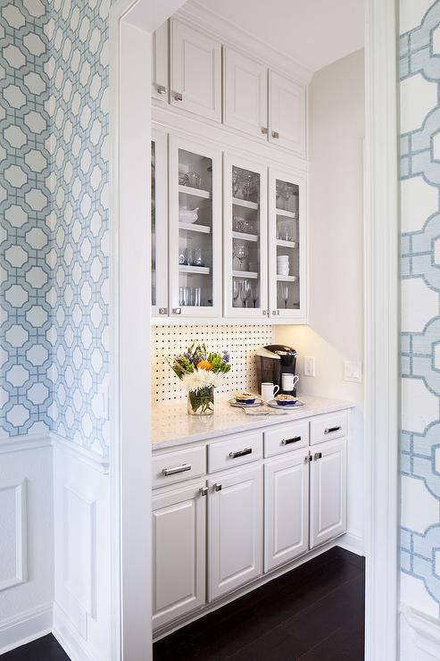 Butler pantry with phillip jeffries imperial gates for Blue kitchen wallpaper