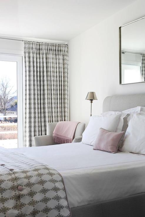 Heather Gray Headboard With White And Pink Hotel Bedding