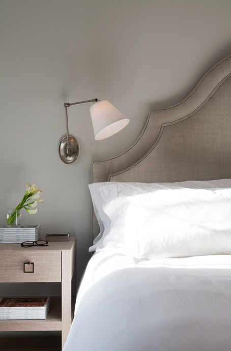 Wall Sconces Next To Bed : Taupe Headboard Design Ideas