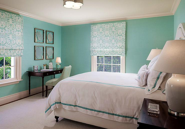 Tiffany Blue Bedroom with Sea Fans Over Black Desk - Transitional ...