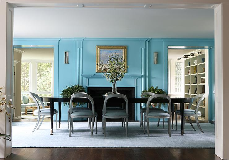 blue dining room with fireplace - contemporary - dining room