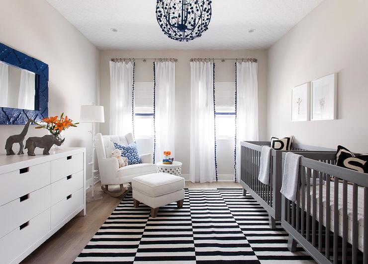 Blue and Gray Twins Nursery Design with Side by Side Cribs ...