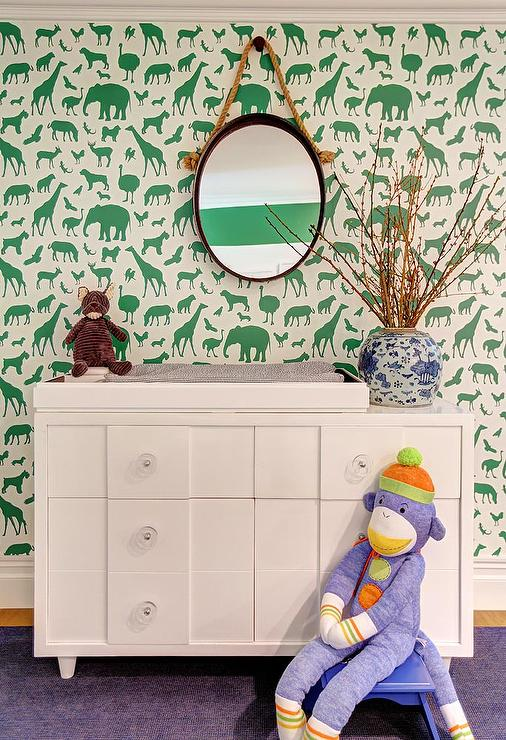 White And Green Nursery With Ferm Living Animal Farm Wallpaper