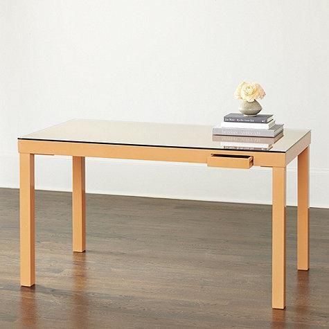 Glass Top Brown Wooden Base Parsons Desk Part 83