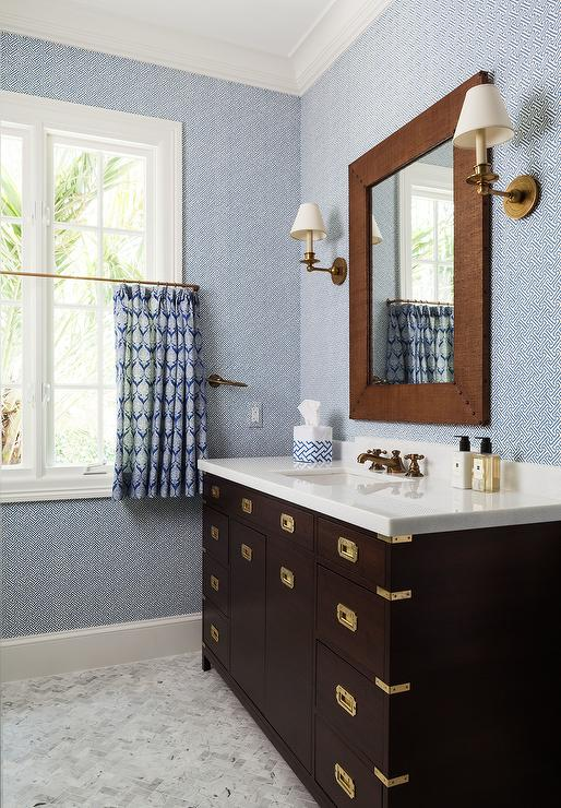brown and blue kids bathroom with brown campaign washstand transitional bathroom. Black Bedroom Furniture Sets. Home Design Ideas