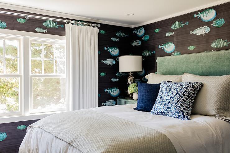 Cottage Bedroom With Fornasetti Acquario Deep Sea Blu Wallpaper