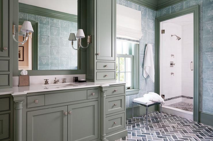 Chic Bathroom Features A Gray Cabinets Fitted With A Gray Washstand Topped  With White Quartz Fitted With A Sink And Polished Nickel Faucet Placed  Under Gray ... Part 90